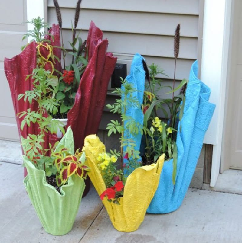 Factory Paint Decorating Color Filled Nurseries: Create DIY Cement Planter Using Old Towel Or Cloth