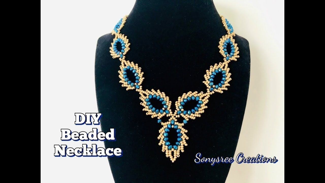 Photo of Peacock Feather Beaded Necklace || St Petersburg Stitch || Beaded Leaves