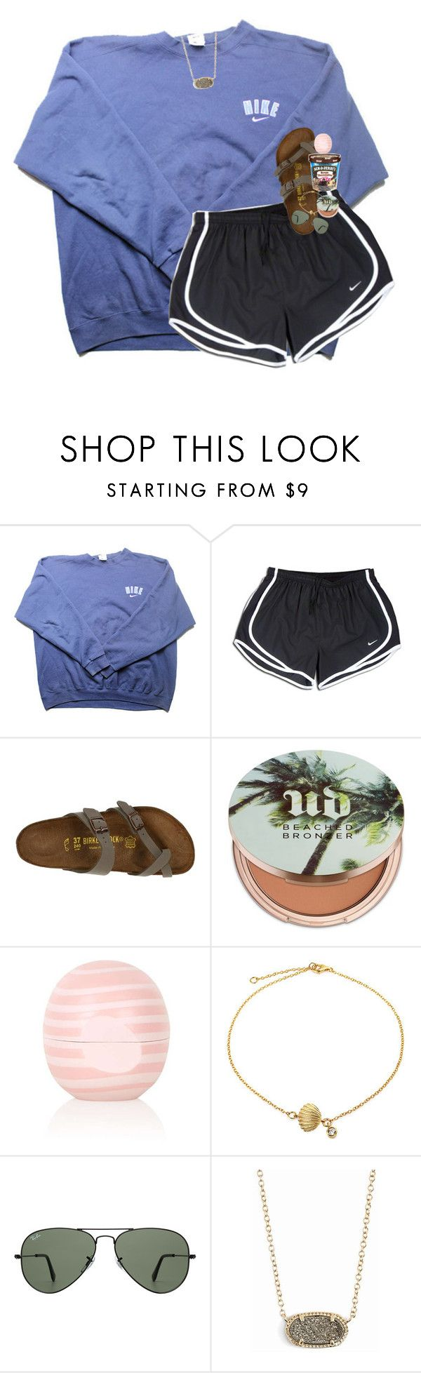 """""""rtd!!!!!"""" by lindsaygreys ❤ liked on Polyvore featuring NIKE, Birkenstock, Urban Decay, Topshop, Bling Jewelry, Ray-Ban and Kendra Scott"""