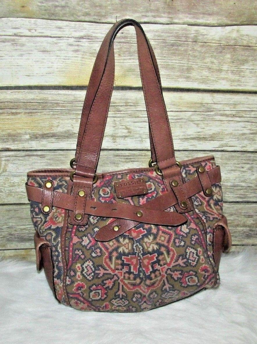 Fossil Long Live Vintage 1954 Pattern Canvas Leather Shoulder Bag Purse Tote Ebay