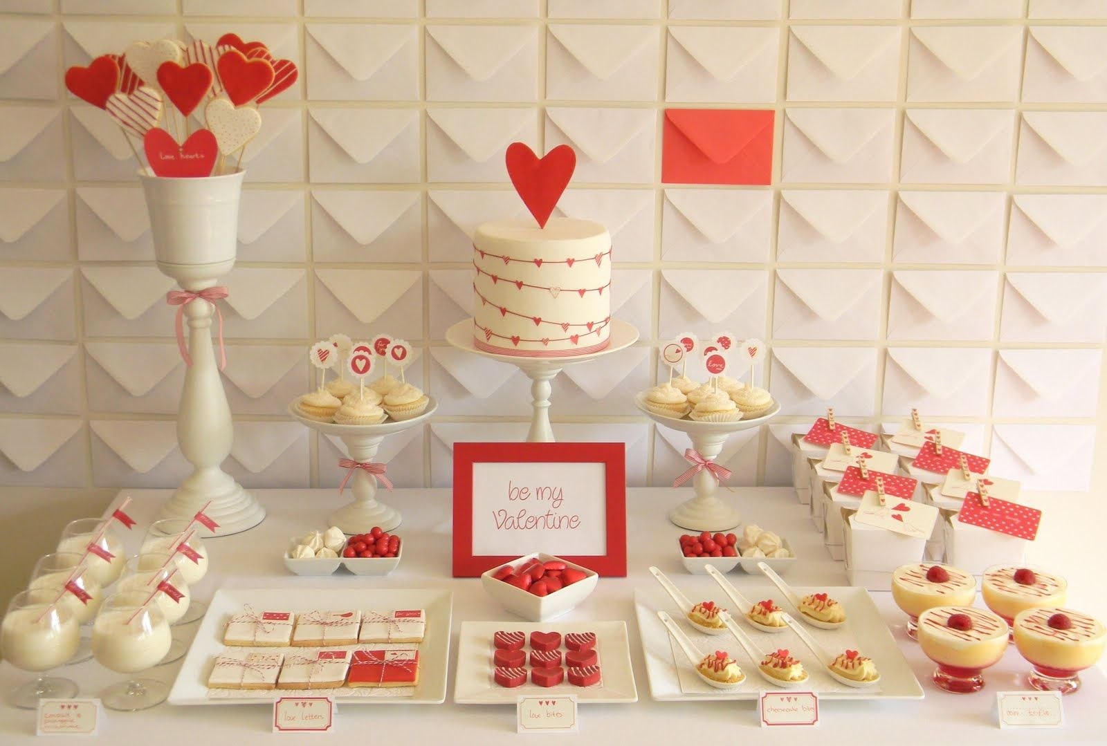 DIY Inspiration - Happy Valentine's Day Treat Table - Love the use of Envelopes as a Backdrop