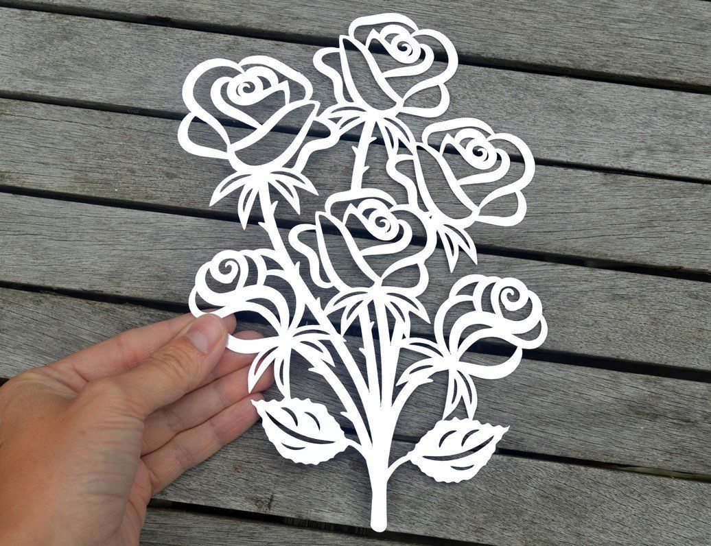 Rose bouquet paper cut SVG / DXF / EPS files and PDF / PNG printable ...