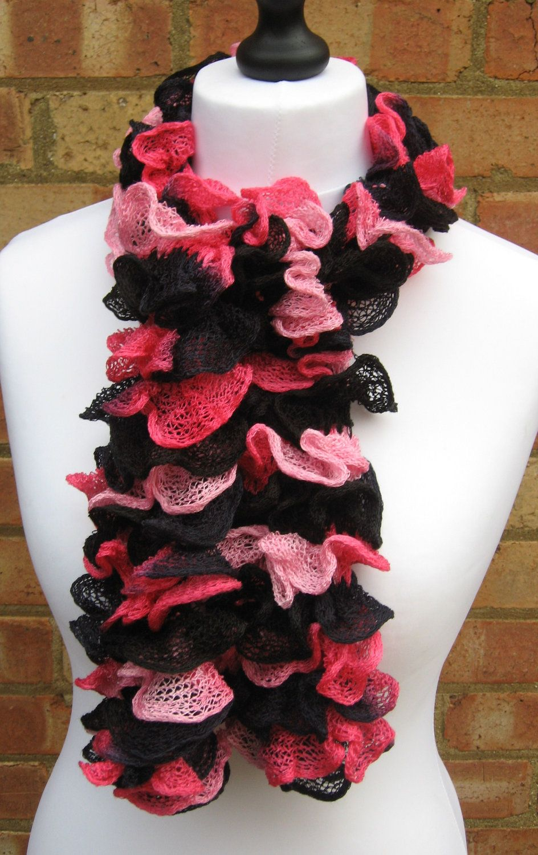 ruffled scarf in orange and black | Pink Ruffle Scarf Hand Knit Scarf Pink And Black Ruffled Scarf