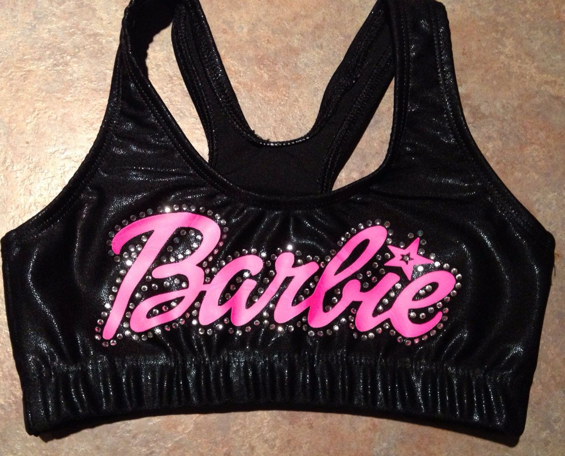 Custom Neon & Metallic Rhinestone Sports Bra by