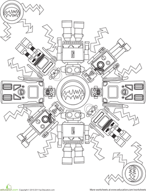 Robot Coloring Page books and