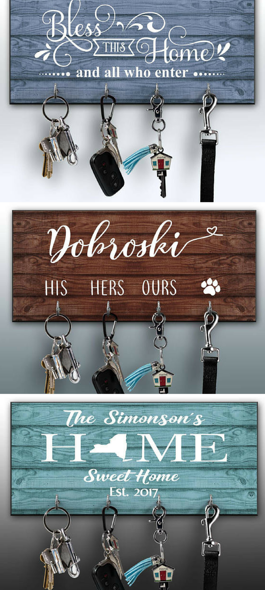 Personalized Key Ring Holder Family Key Holder Home Key Rack Home Sweet Home Unique Housewarming Gifts Personalized Housewarming Gifts House Warming Gifts