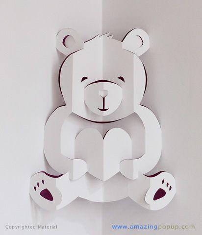 Lovely Bear Valentine Popup Card – Valentine Card Pop Up