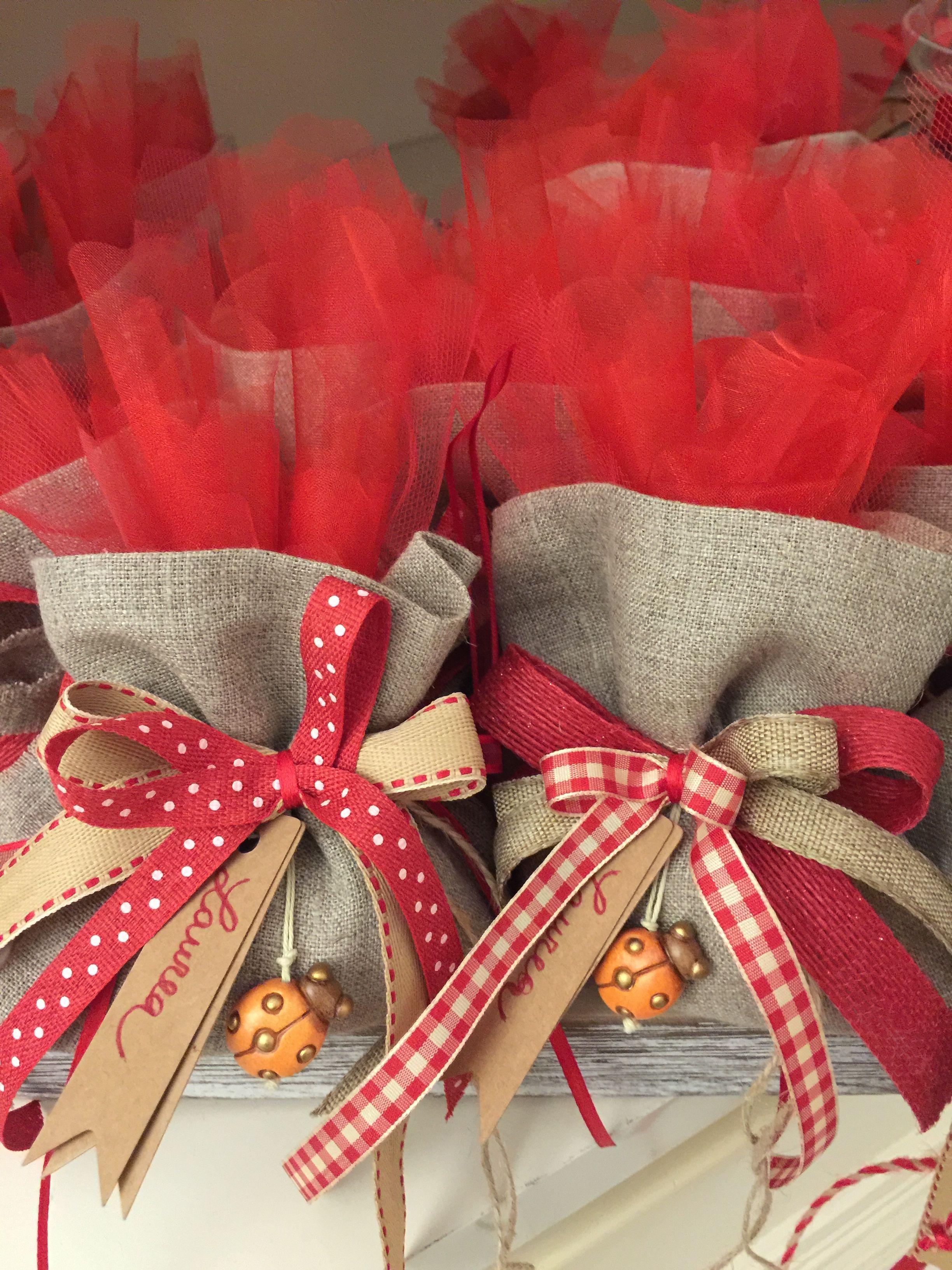 Particolare Sacchetti Laurea Coccinella Thun Avvolgimento Di Regali Decorazione Festa Di Laurea Natale Artigianato