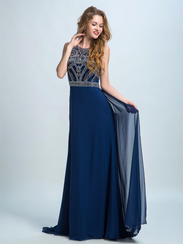 Aline scoopneck sweep train chiffon rhine stone prom dresses