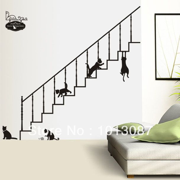 Naughty Black Cat Sticker Stairs Wall Stickers Daycare Wall Decorations Pvc Wallpaper Kids Baby Room Decor