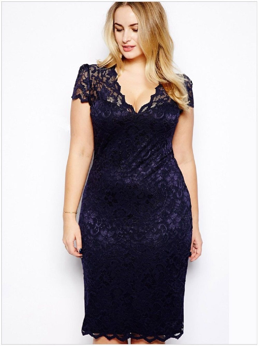 Plus Size Womens v neck Evening Party Summer Ladies Cocktail Midi Pencil Dress