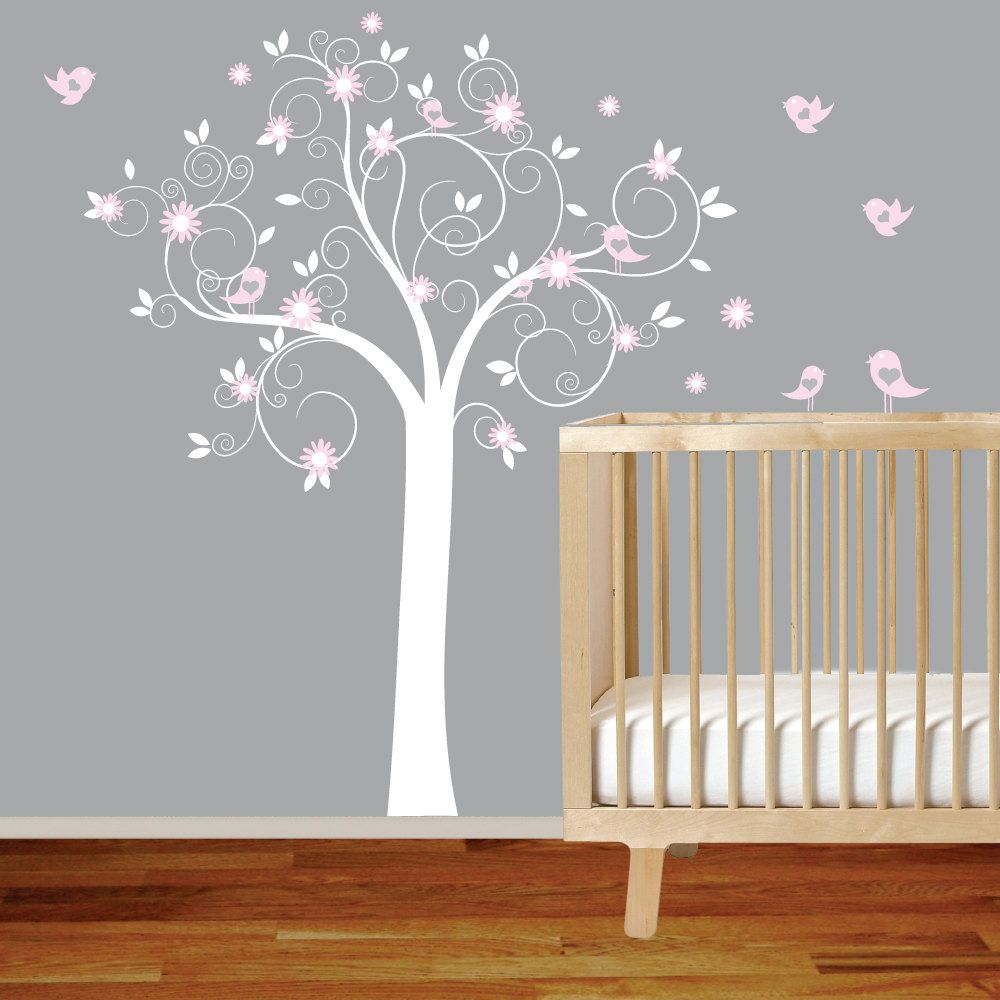 White Swirl Tree With Pink Flowers Birds Nursery Vinyl Wall Decal