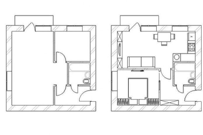 Перепланировка хрущевки: фото и схемы 1,2,3,4- комнатных в ...