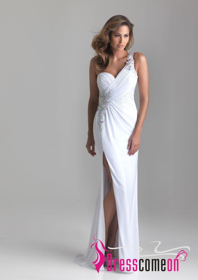 White one shoulder dress prom fever pinterest shoulder dress