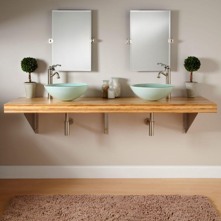 Rectangle Light Brown Wooden Wall Mounted Bathroom Vanity With Double Blue Bowl Sink And Rect Wall Mounted Bathroom Sinks Vessel Sink Bathroom Vanity Teak Wall