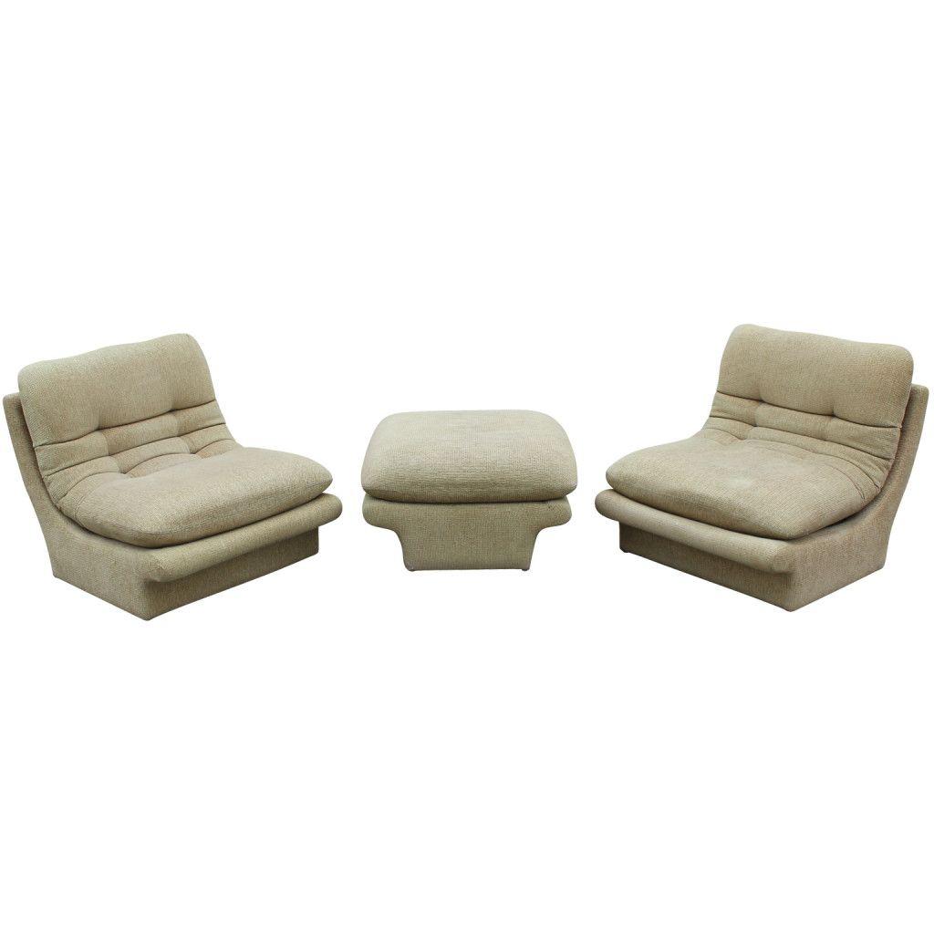 Pair Of Vladimir Kagan Slipper Lounge Chairs And Ottoman Good Ideas