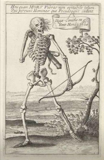 "blackpaint20: ""  Skelet met pijl en boog, Hendrick Hondius, Teodoro Filippo di Liagno, Hendrick Hondius (I), 1625 """