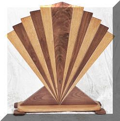 Craftsman custom handcrafted quarter sawn oak and walnut art deco machine age inspired fireplace screen fan made in usa