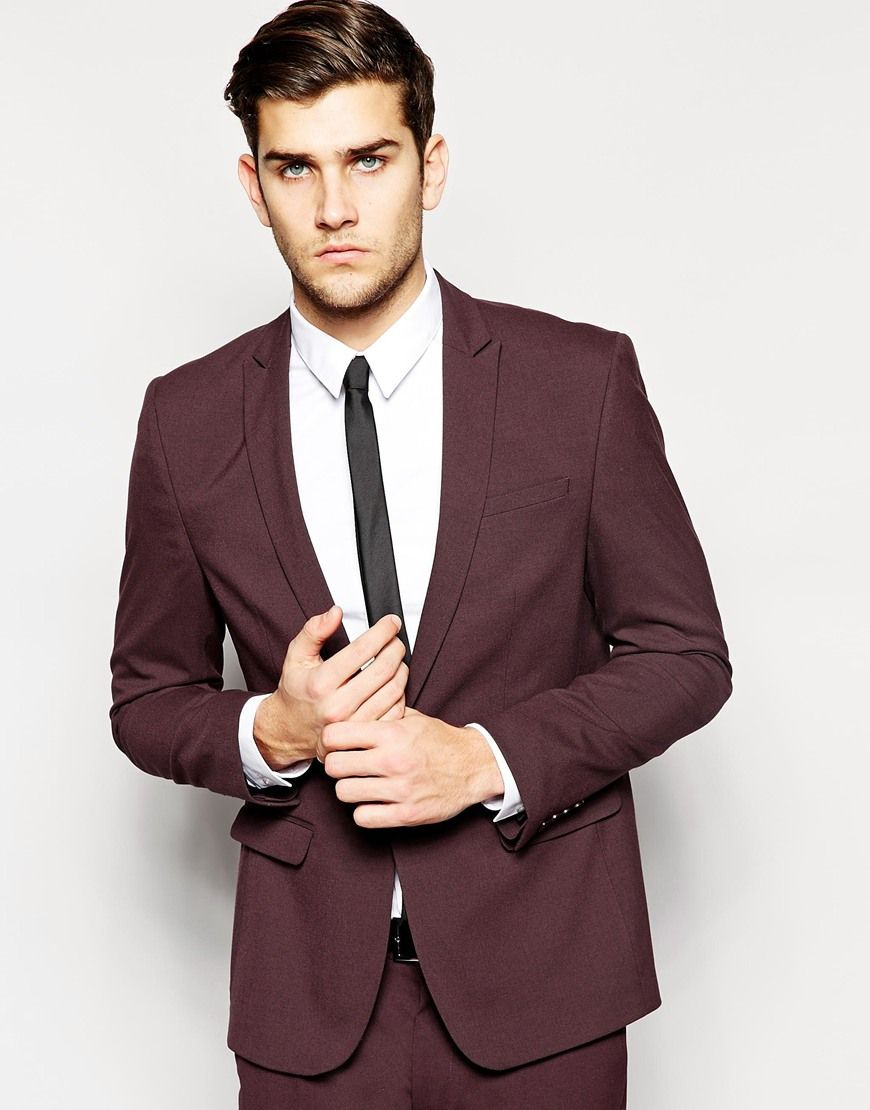ASOS Skinny Fit Suit Jacket in Burgundy | Groomsmen | Pinterest ...
