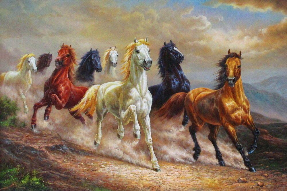 Hd Art Print Animals Eight Horses Oil painting Printed on ...