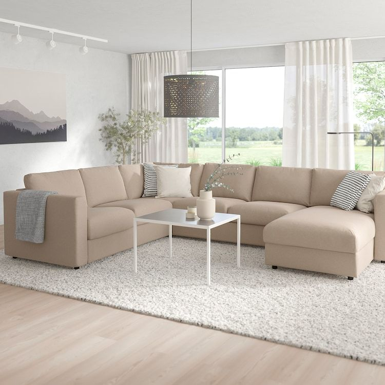 Vimle Sectional 5 Seat Corner With Chaise Tallmyra Beige Ikea Ikea Sectional Sofa Sectional Sleeper Sofa U Shaped Sofa