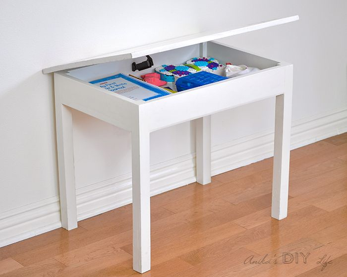 Build an Easy DIY Kids Table with Storage Kid table Desks and Storage