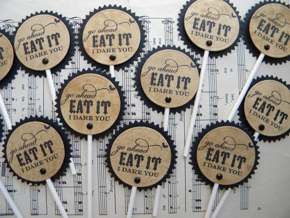 Cupcake Toppers - Go Ahead Eat It - I Dare You .. set of 12 for $12.00