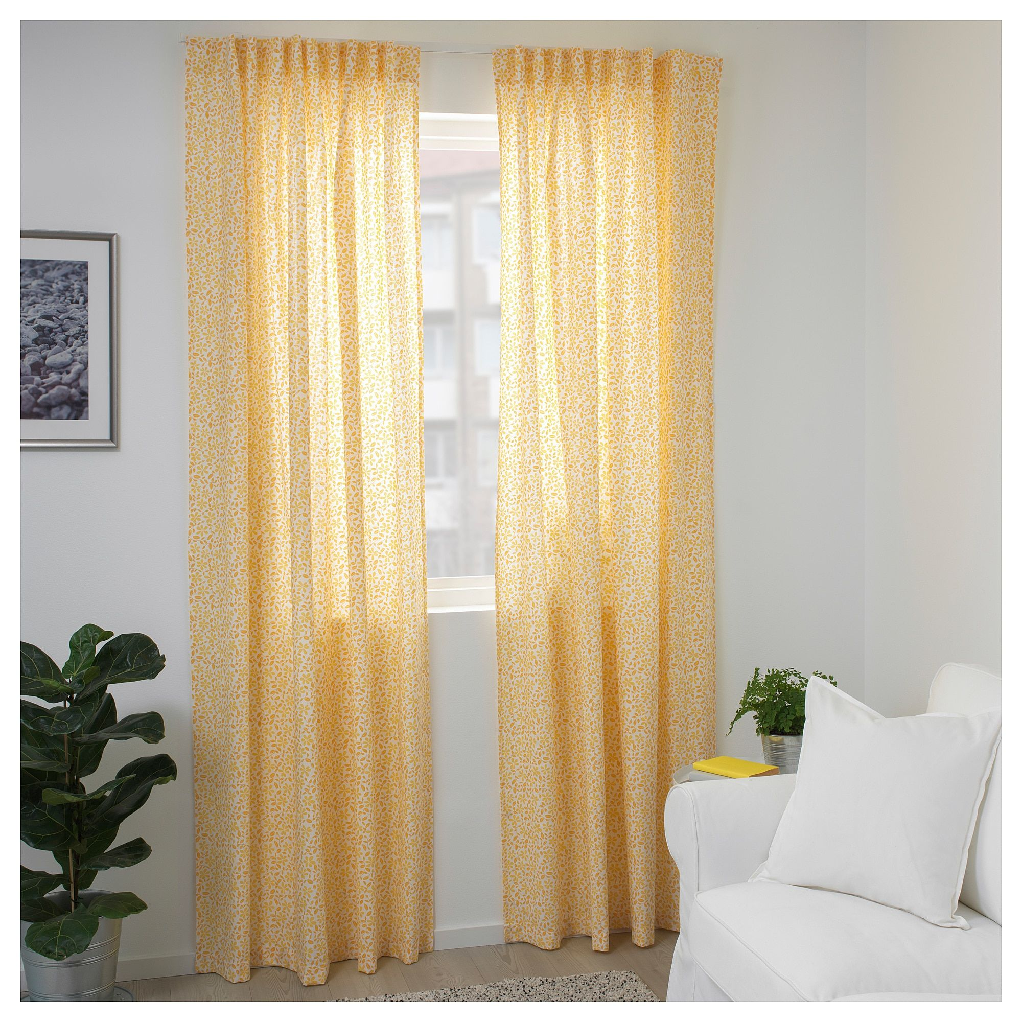 Ikea Dorthea White Yellow Curtains 1 Pair Curtains Ikea Curtains Without Sewing