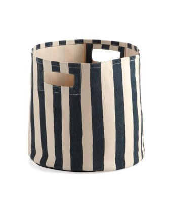 Selby Striped Canvas Bin by Horchow