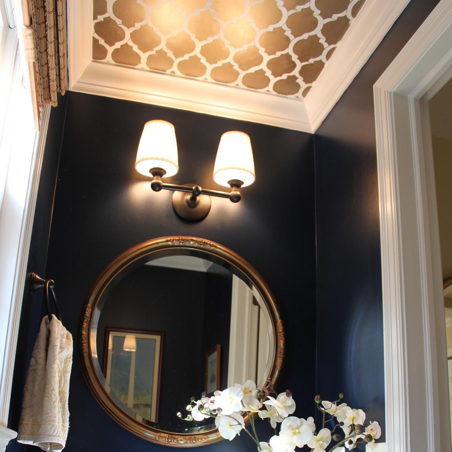 In Defense Of Painting Your Ceilings Anything But White In 2020 Dark Blue Bathrooms Colored Ceiling Dark Blue Walls