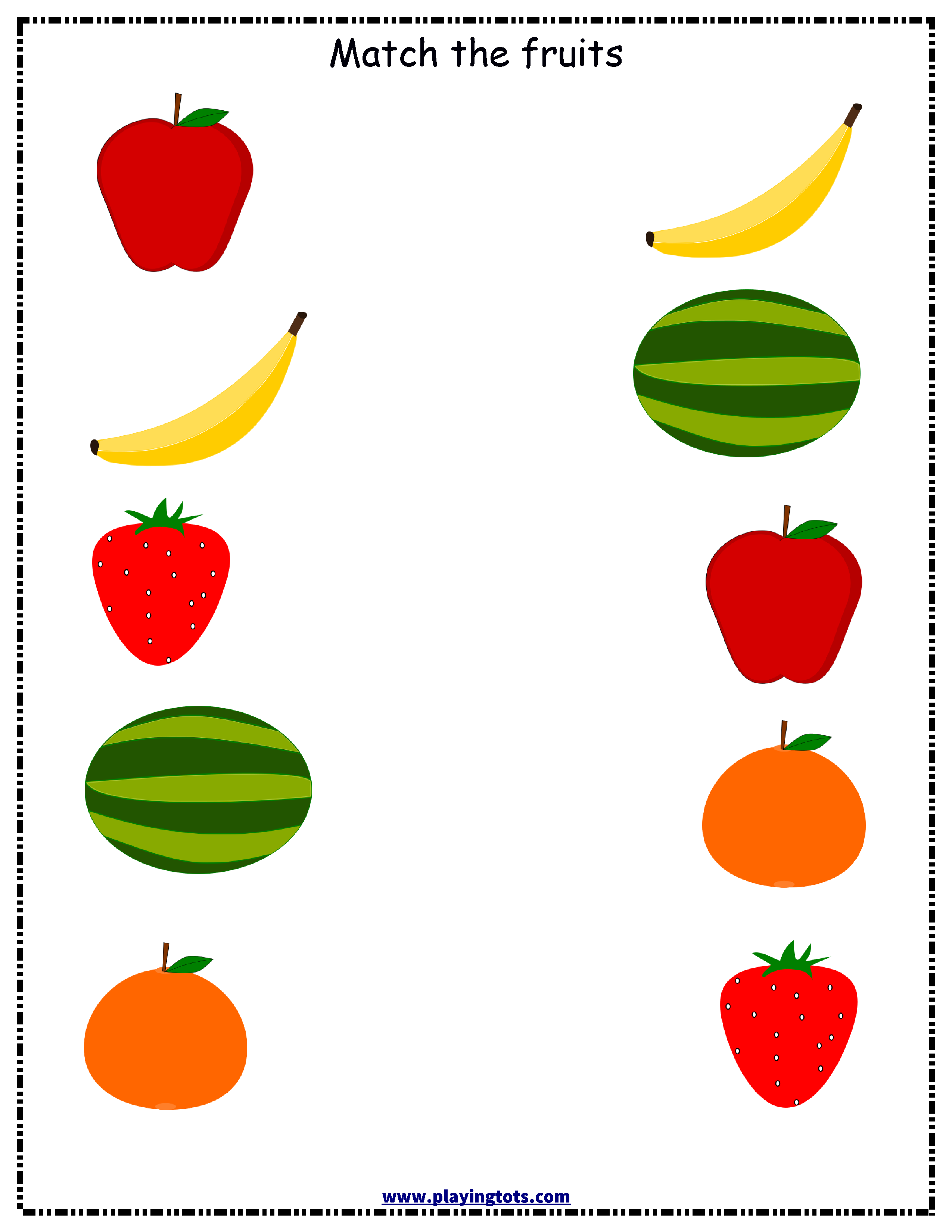 Free Fruits Matching Printable Worksheet For Toddler