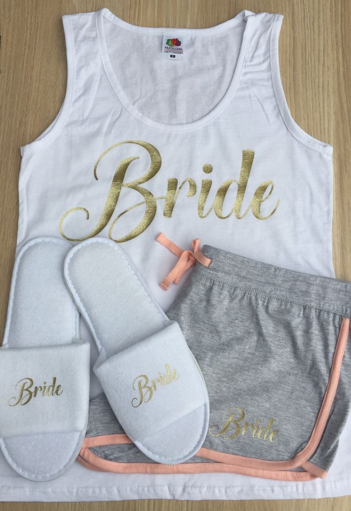 Bride To Be Pjys Wedding Pyjamas Maid Of Honour Pajamas Hen Party Shorts Gift
