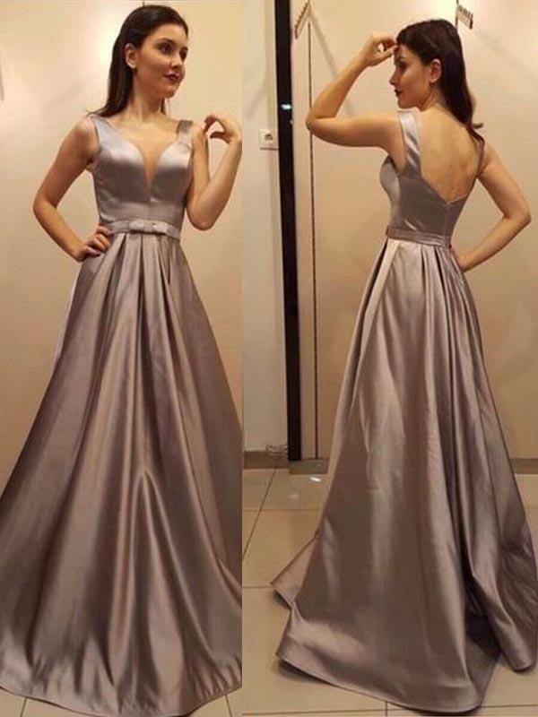 8b60495a6d Pretty Deep V-Neck Open Back Long Evening Prom Dresses