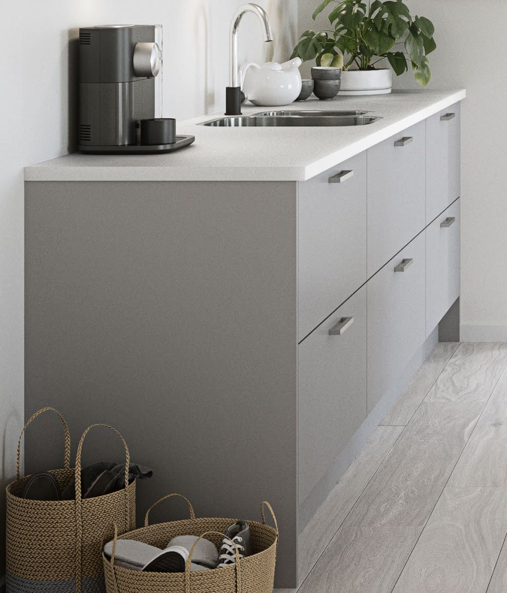Nova Matt Grey Light grey kitchens, White worktop, Grey