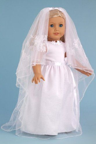 DreamWorld Collections Veil Story - White Satin and Organza Communion / Wedding Dress with Matching Shoes and Long Veil - Clothes for American Girl Dolls : Special Occasion Doll Dresses
