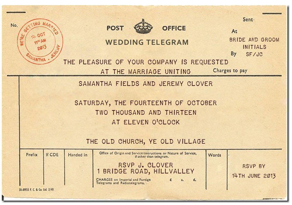 10 x PERSONALISED VINTAGE TELEGRAM WEDDING INVITATIONS