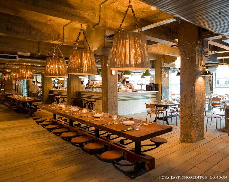 Restaurant Dining Table With Attached Swing Out Seats Industrial Restaurant Interior Bar Design Restaurant Dining Table In Kitchen