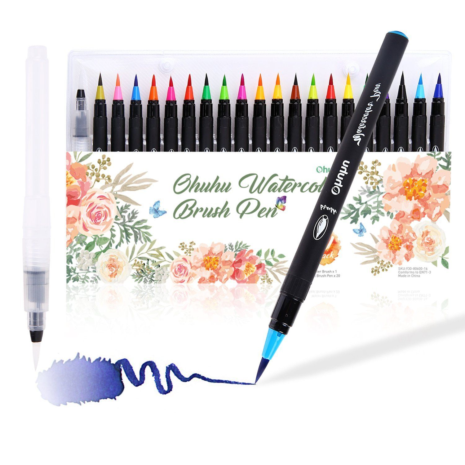 Amazon Com Watercolor Brush Markers Pen Ohuhu 20 Colors Water