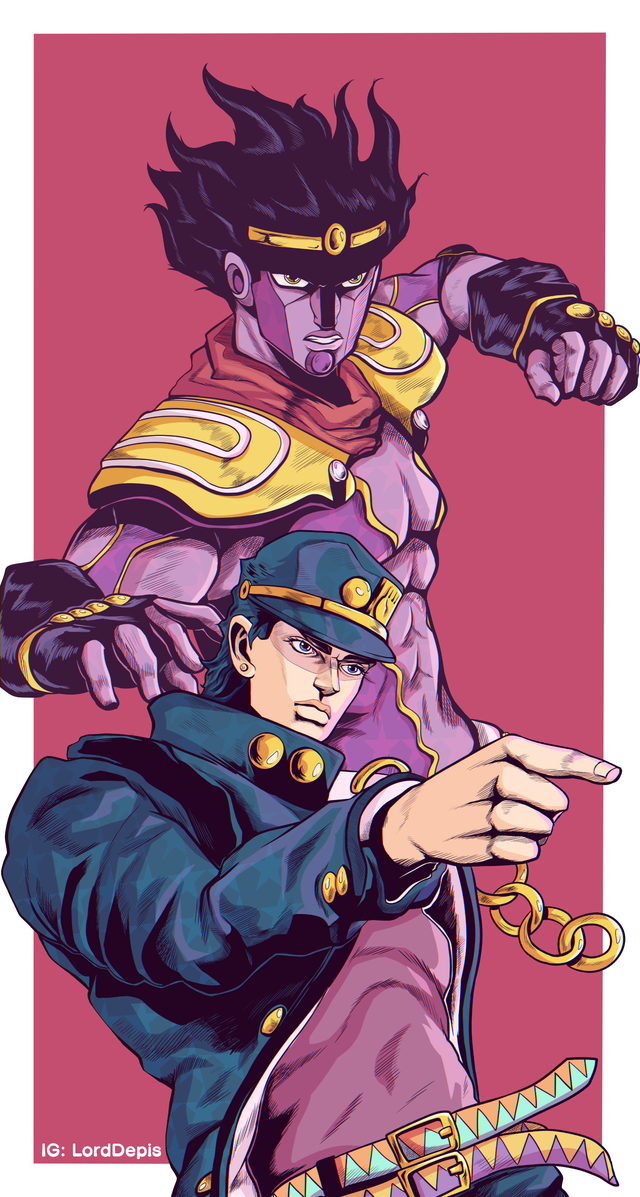 Jotaro and Star Platinum wallpaper [Fanart