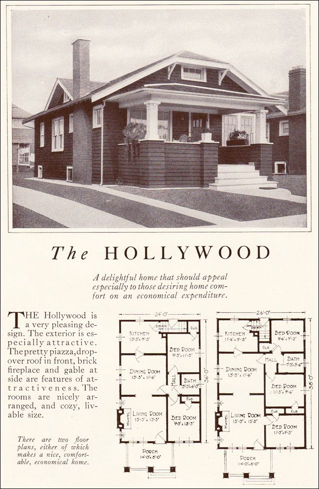 1922 Lewis Manufacturing Kit House The Hollywood Craftsman Bungalow Exterior Vintage House Plans Bungalow Floor Plans