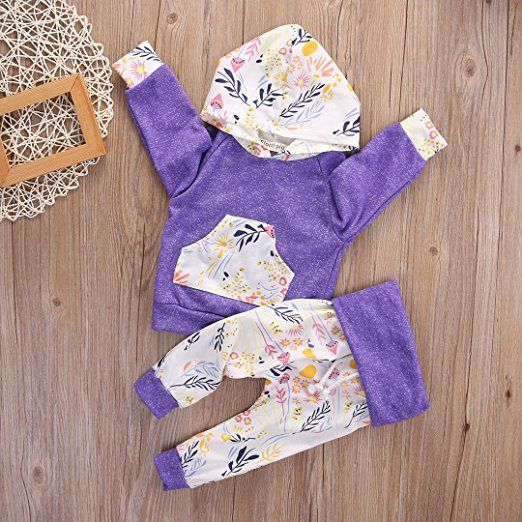 1c412ba28e2a Amazon.com: Toddler Baby Girls Floral Hooded T-shirt Top + Pants Outfits