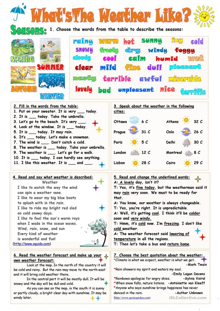 What S The Weather Like Worksheet Free Esl Printable Worksheets Made By Teachers Weather Elementary Weather Vocabulary English Worksheets For Kids [ 1079 x 763 Pixel ]