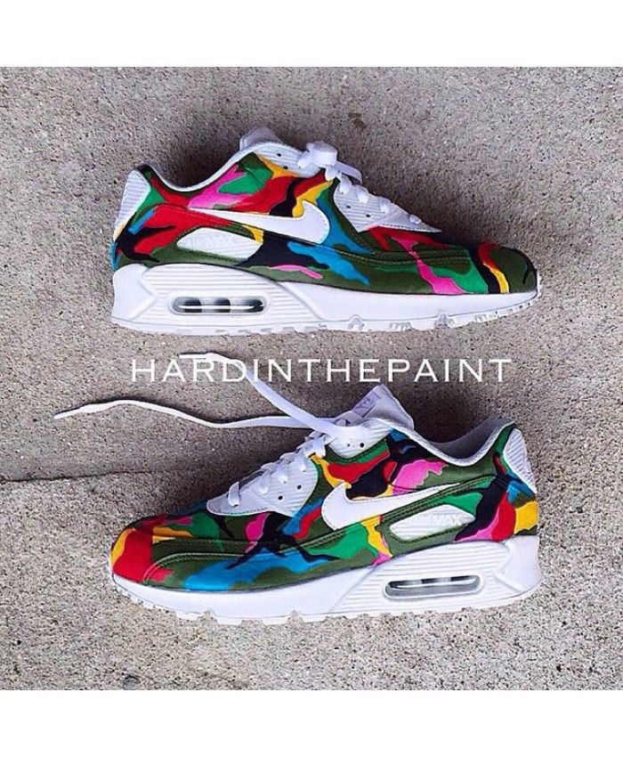 super popular c01e3 8ebd8 Air Max 90 Custom Hand Painted Colorful Trainer Artificial materials, shock  absorption, non-slip.