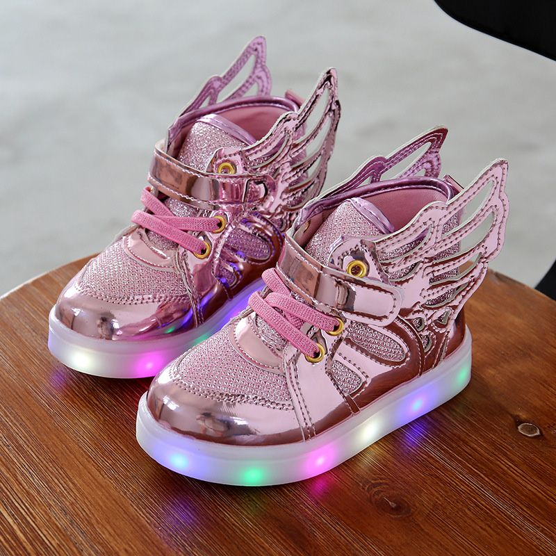 Children shoes with light 2016 Fashion glowing sneakers boys little girls  shoes wings canvas flats spring