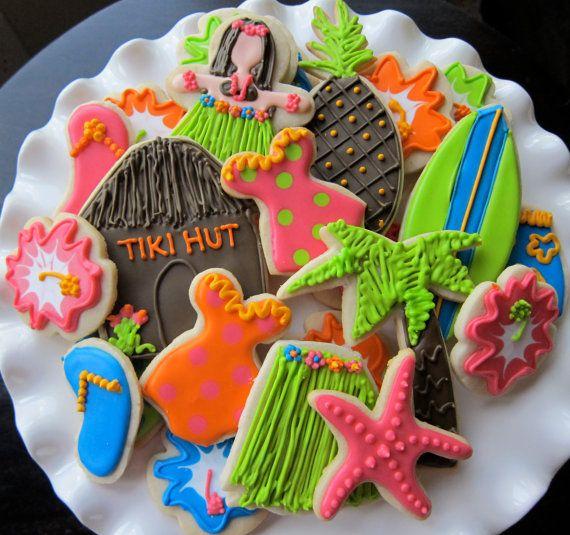 Luau, Tropical Cookies, Cakes, Ideas
