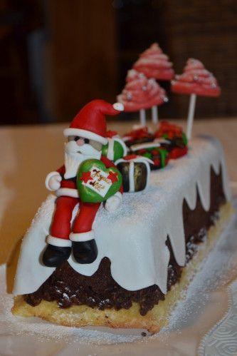 la bche de nol 2012 ma premire ralisation en pte sucre pour ce - Decoration Pour Buche De Noel