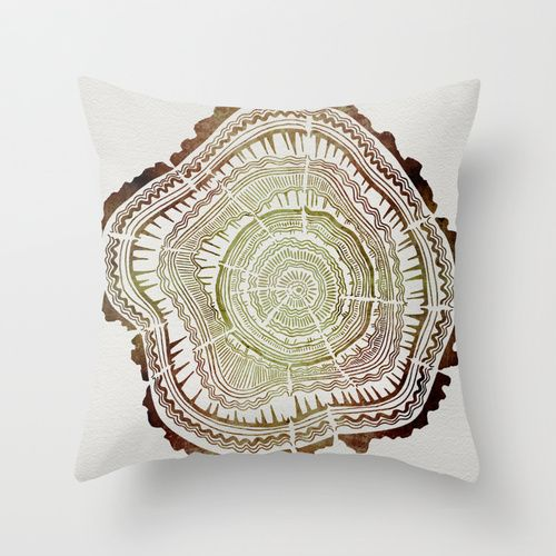 Tree Rings – Watercolor Ombre Throw Pillow