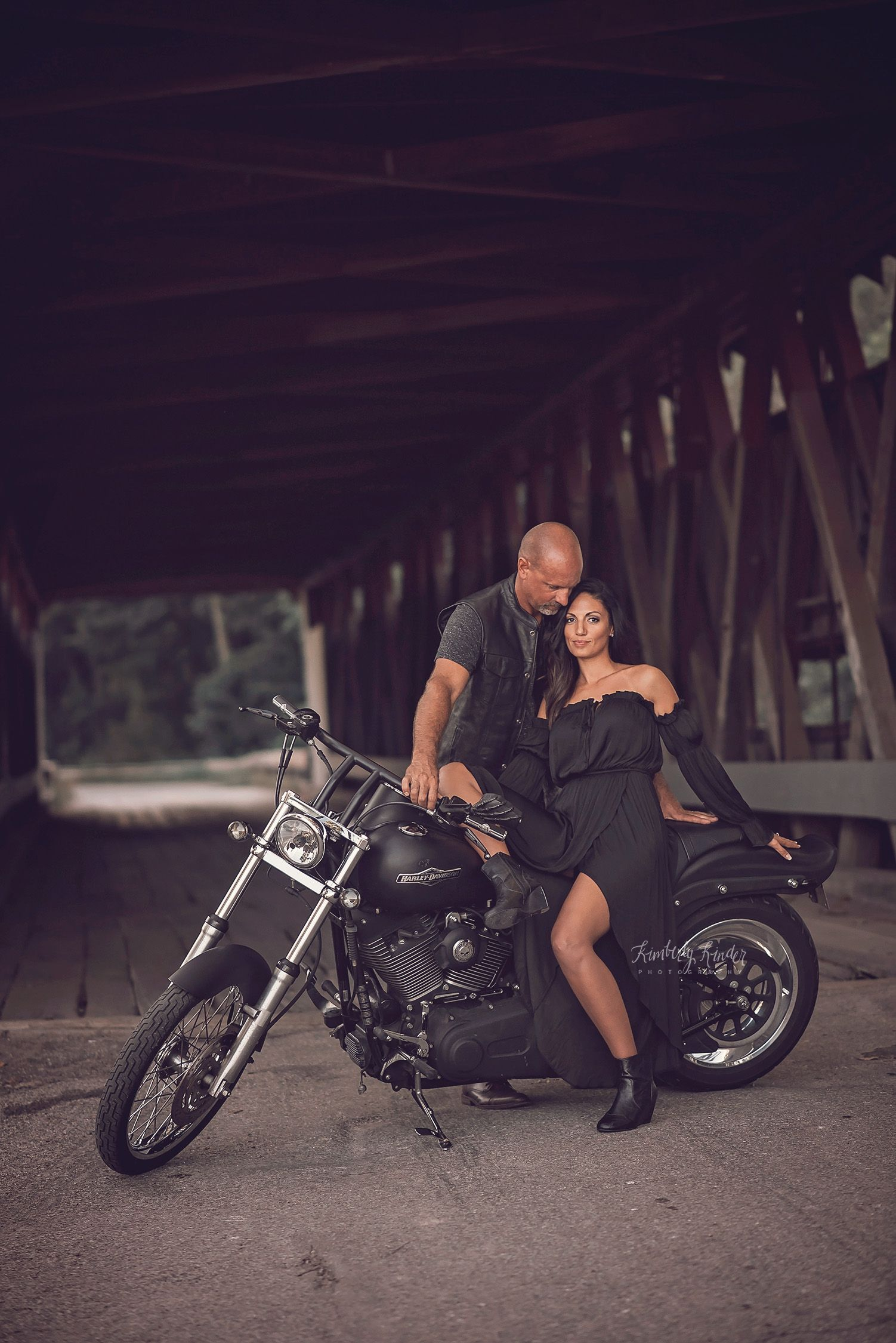 Couples Session With Harley Davidson Motorcycle Harley Couple Motorcycle Wedding Pictures Motorcycle Engagement Photos