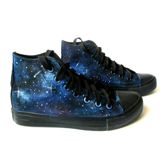 9dddde652b16 Custom handpainted galaxy sneakers. Acrylic paint on canvas non-brand shoes  (hi lor low top)