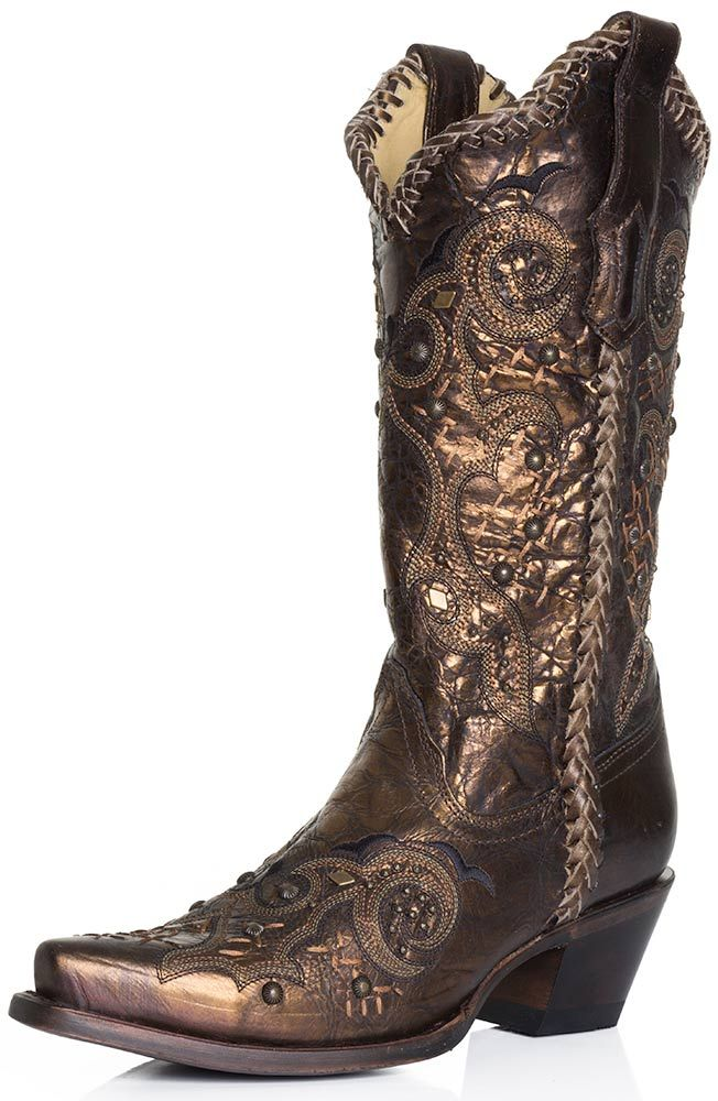Corral Boots Womens Studded Whip Stitch Cowboy Boots